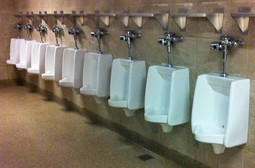 Urinals with no  screen dividers
